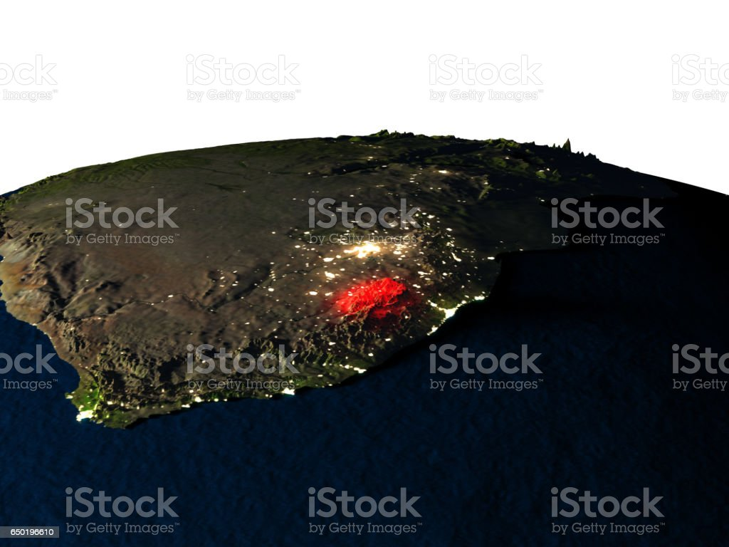 Lesotho from space at night vector art illustration