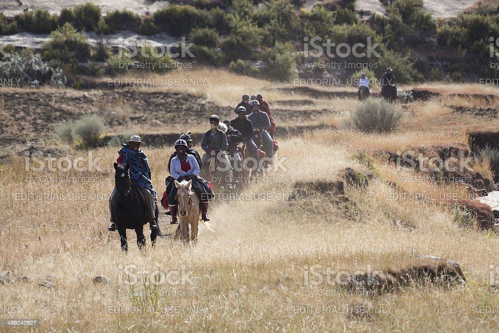 Lesotho Horse Ride stock photo