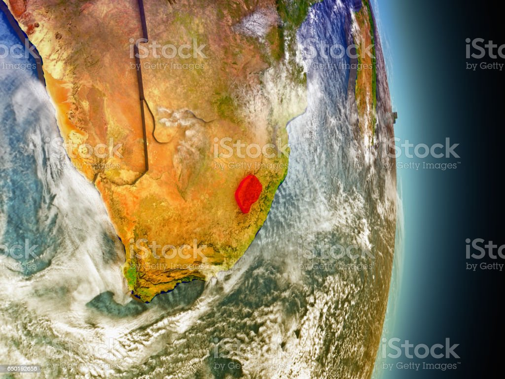 Lesotho in red from space vector art illustration