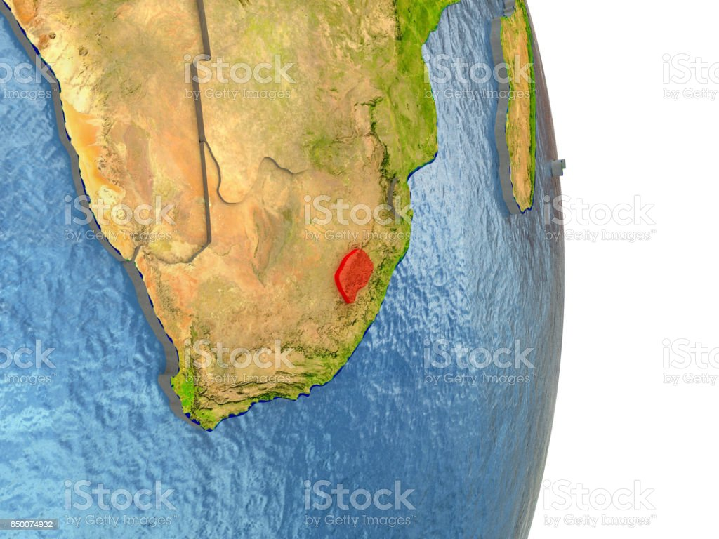 Lesotho in red on Earth vector art illustration