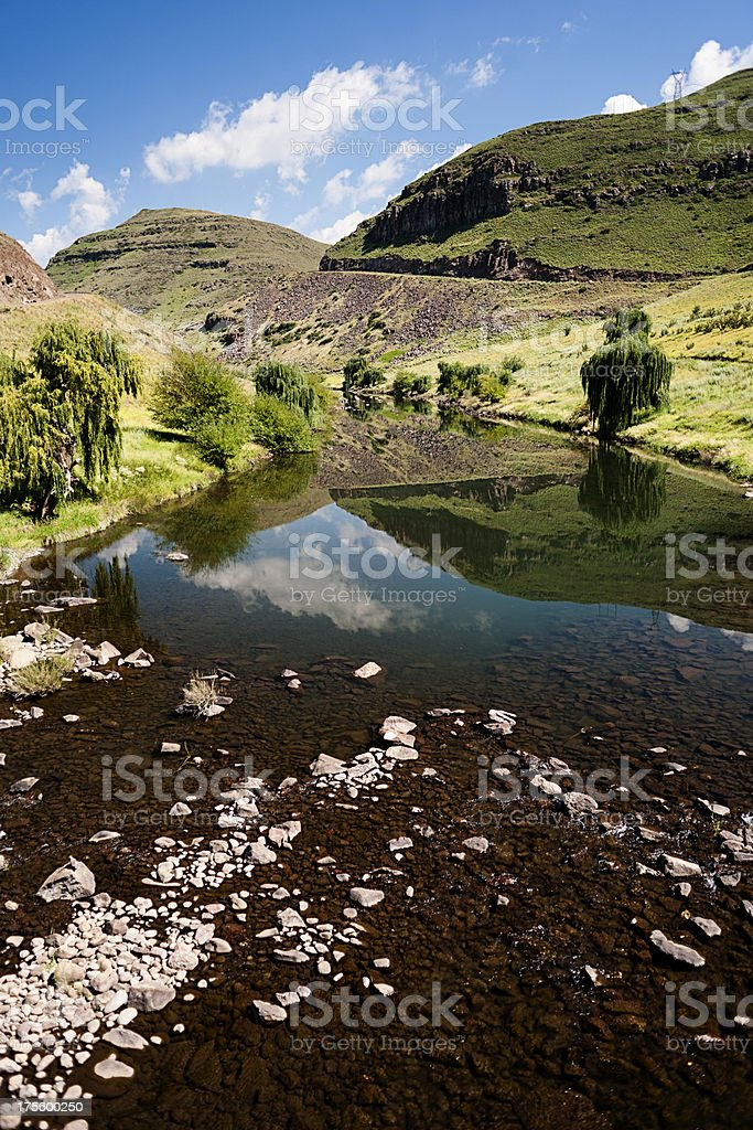 Lesotho mountain river stock photo