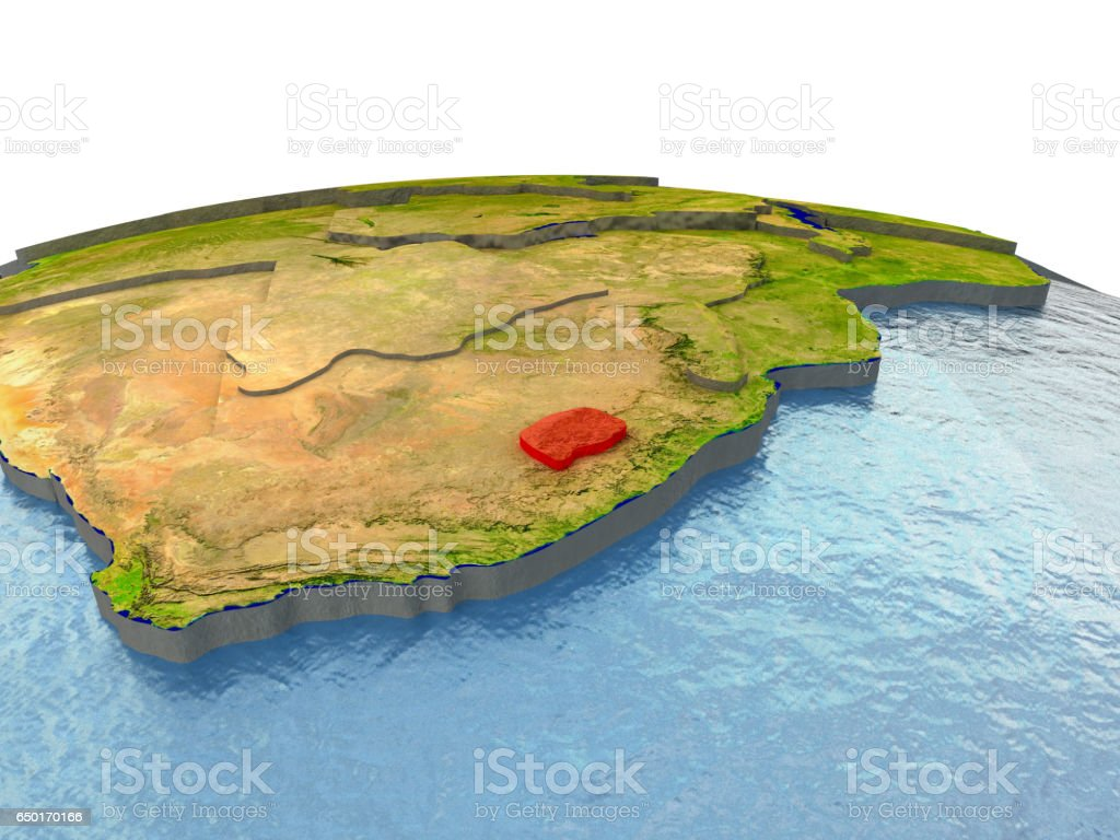 Lesotho on Earth in red vector art illustration