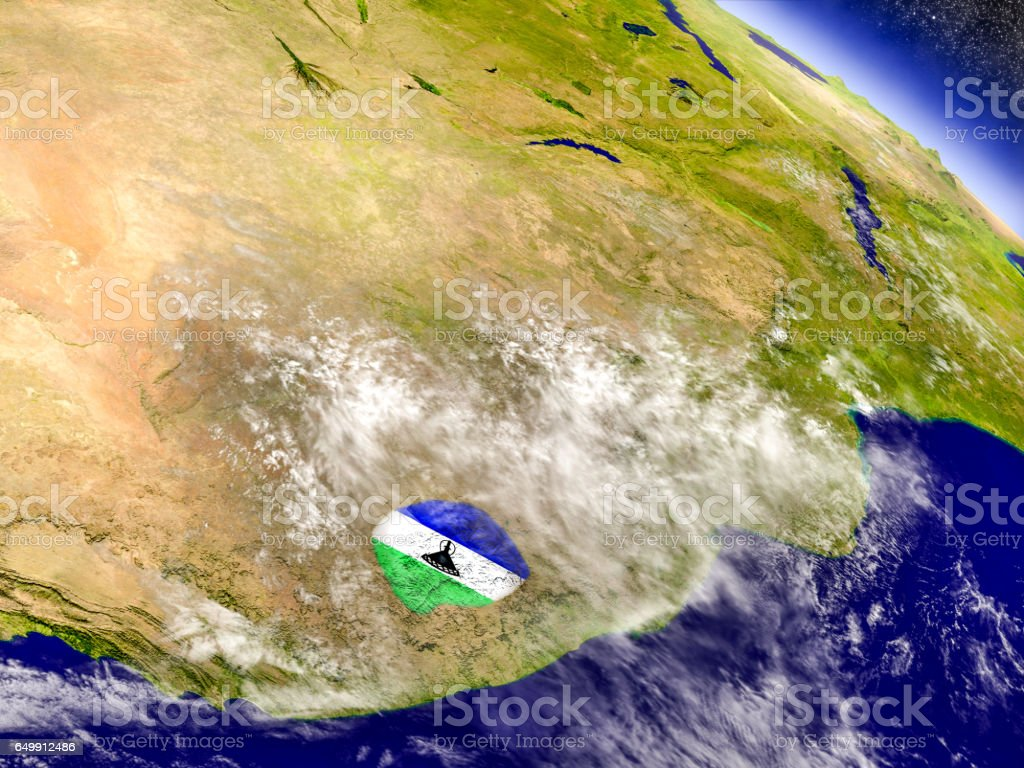 Lesotho with embedded flag on Earth vector art illustration