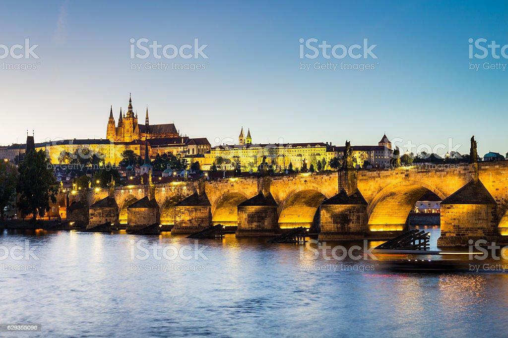Lesser Bridge Tower of Charles Bridge and Prague Castle stock photo