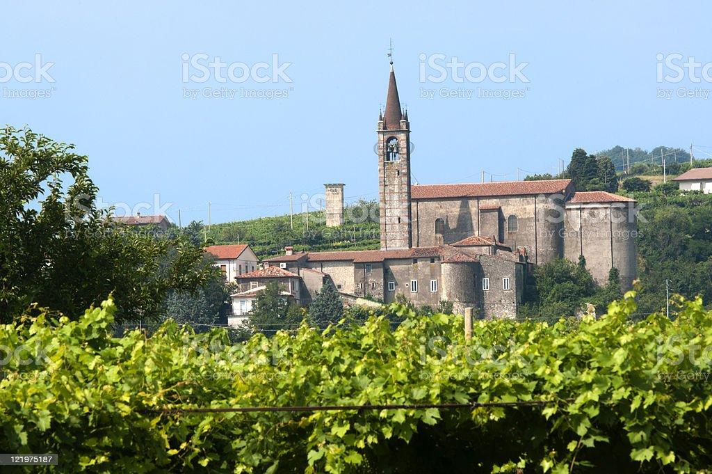 Lessinia (Verona, Veneto, italy), vineyards  at summer and village royalty-free stock photo