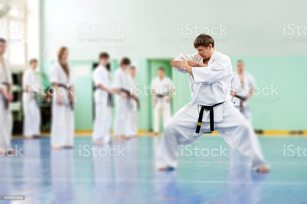 Lesson in karate school stock photo