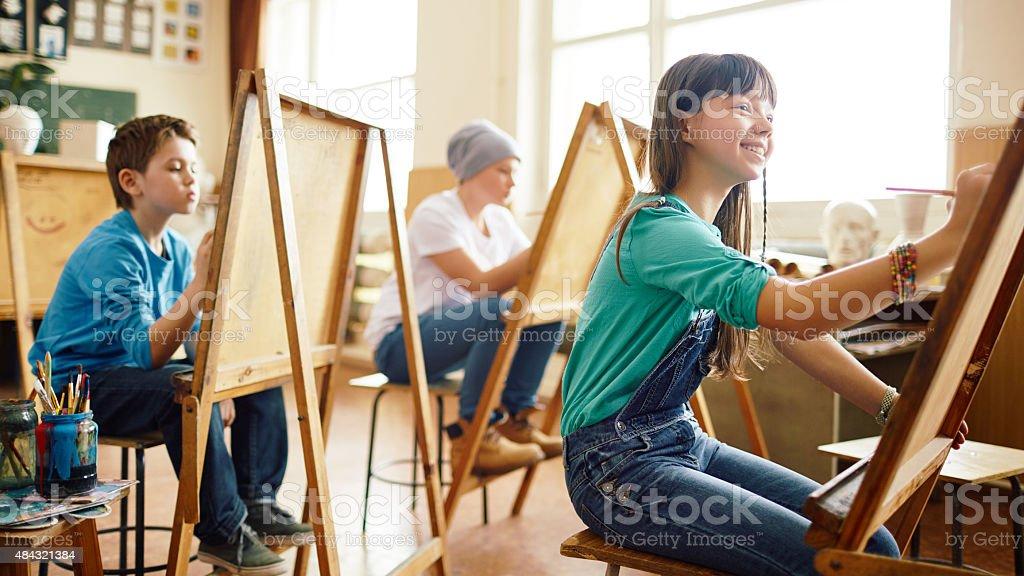 Lesson of art stock photo