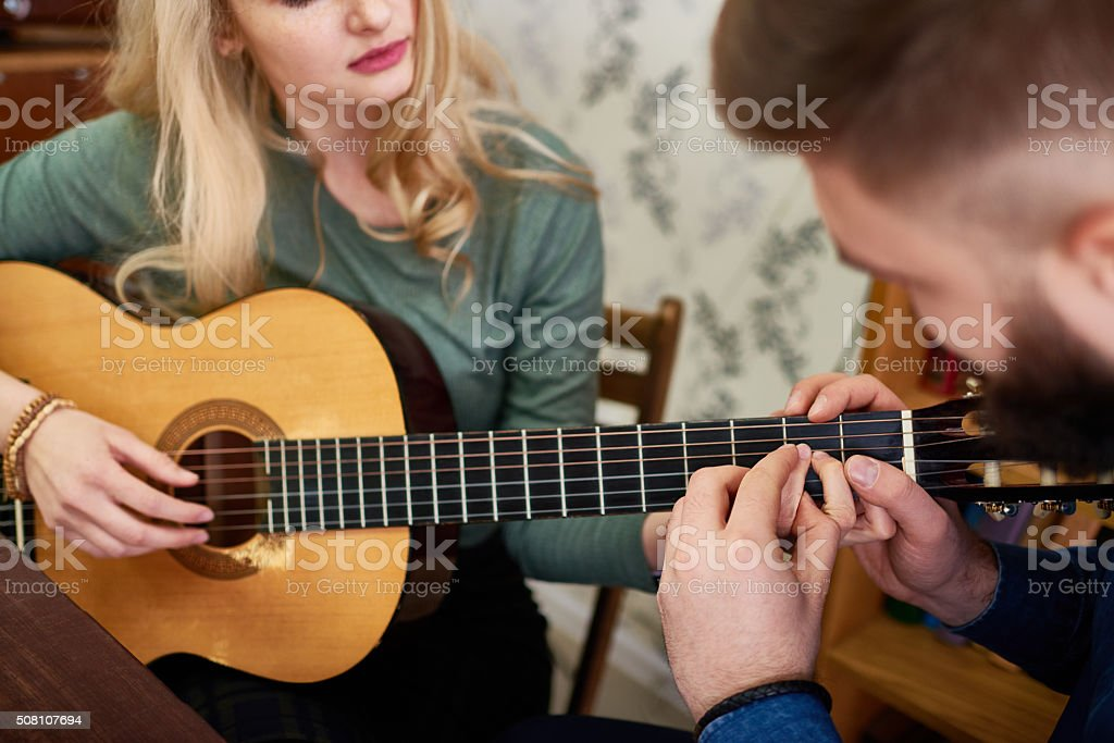 Lesson of music for lover stock photo
