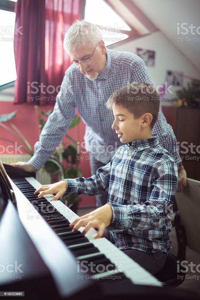Lesson piano stock photo