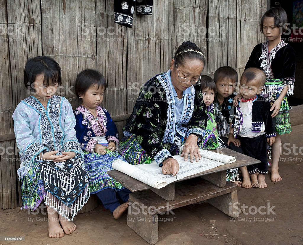 Lessons with children ethnic group Meo, Asia royalty-free stock photo