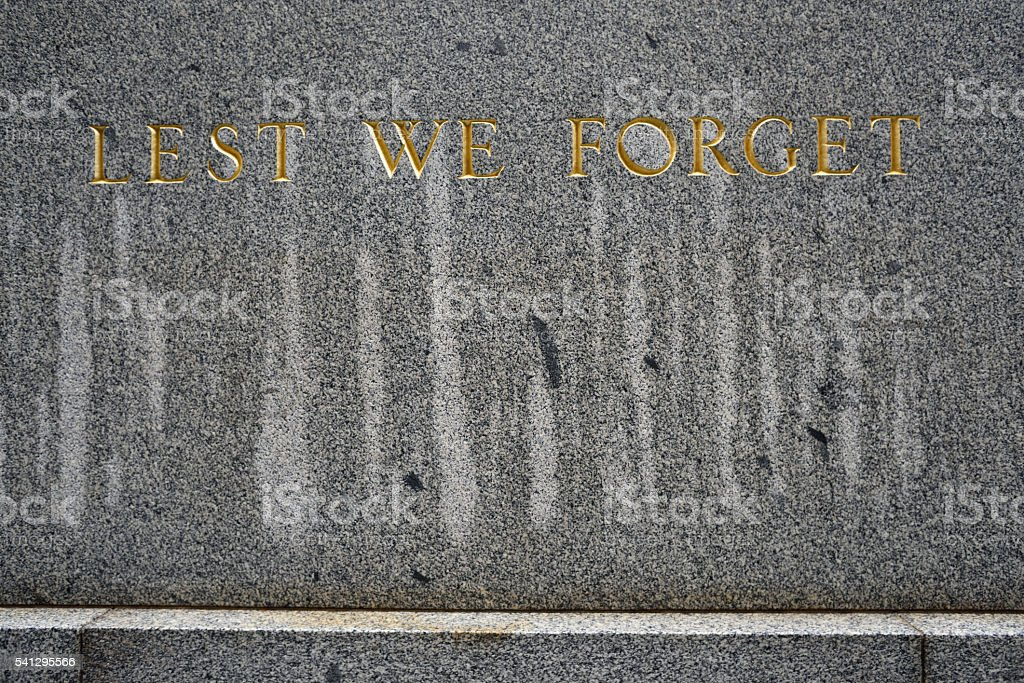 Lest We Forget Sign crying shedding tears stock photo