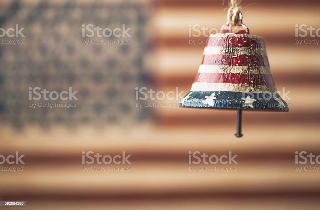 Let freedom ring American flag with patriotic bell stock photo