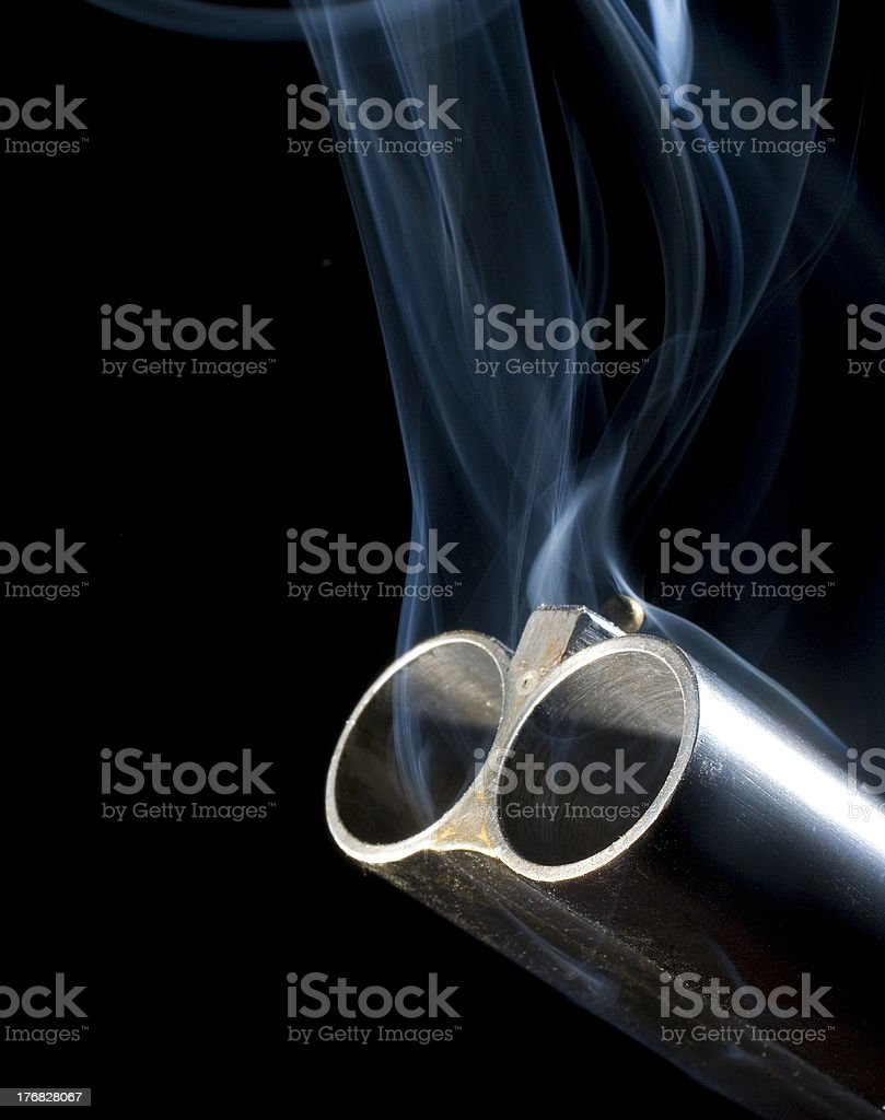 Let him have it with both barrels stock photo
