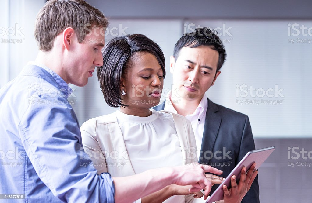 Let me explain our sales figures for this month! stock photo