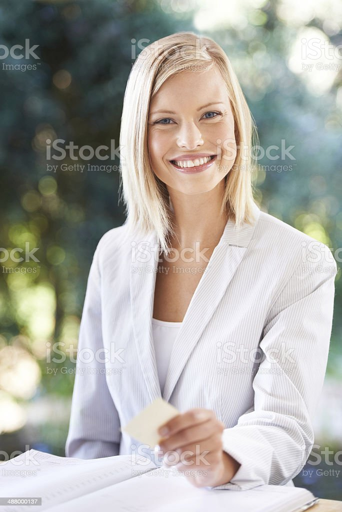 Let me give you my card! stock photo