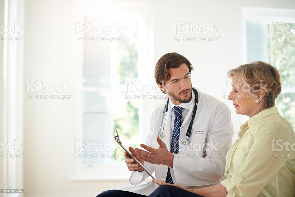 Let me run through these treatment options... stock photo