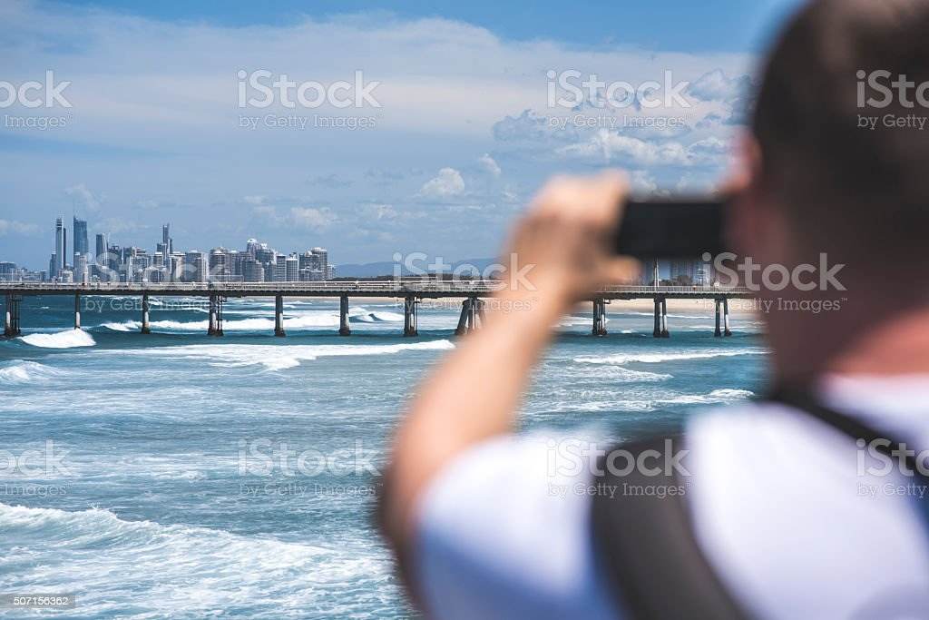 Let me take a skyline photo! stock photo