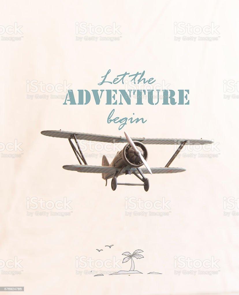 Let the adventure begin - travel motivational concept stock photo
