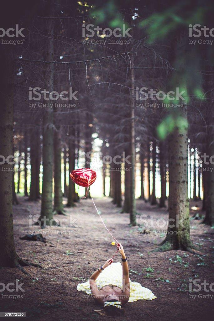 Let the balloon go stock photo