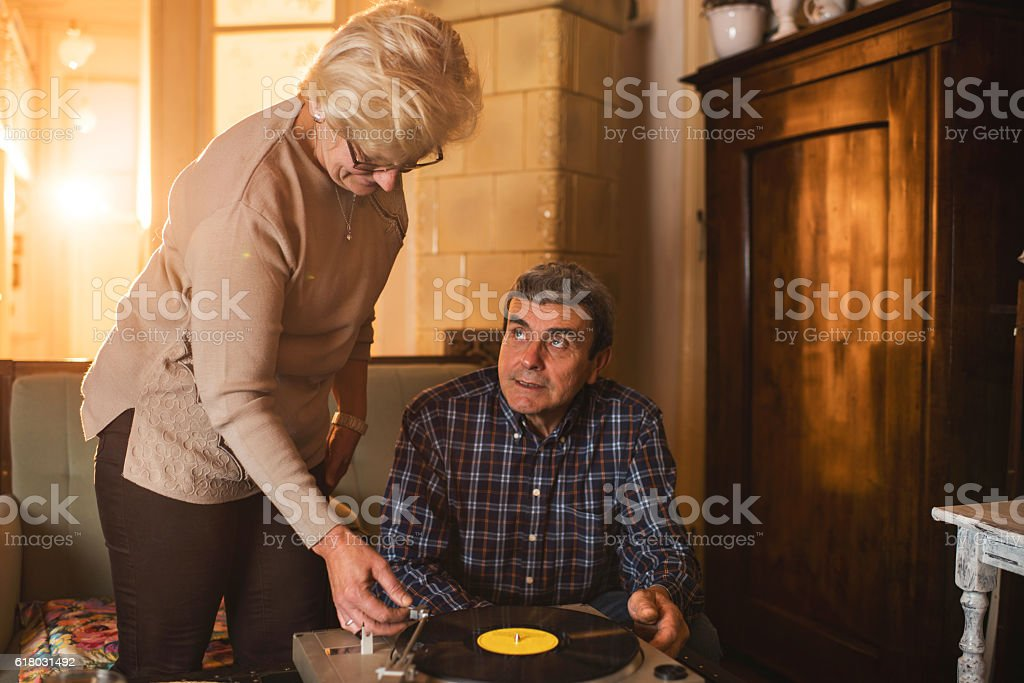 Let us remember the old days with gramophone! stock photo