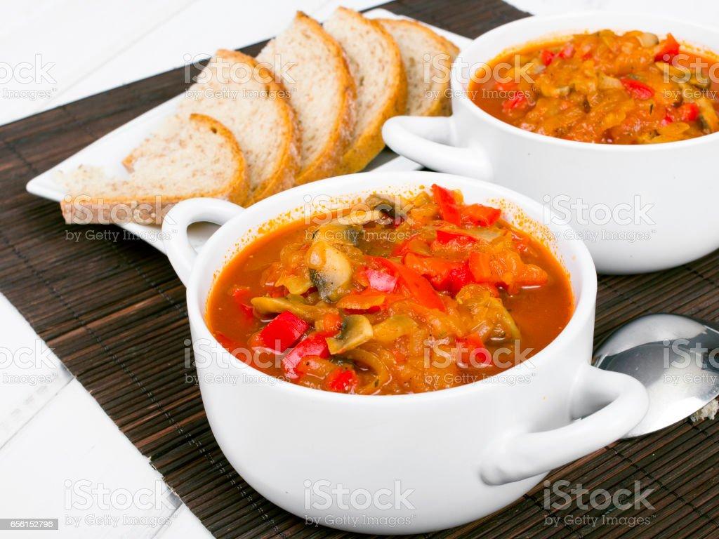 letcho with paprika, zucchini and champignon mushroom stock photo