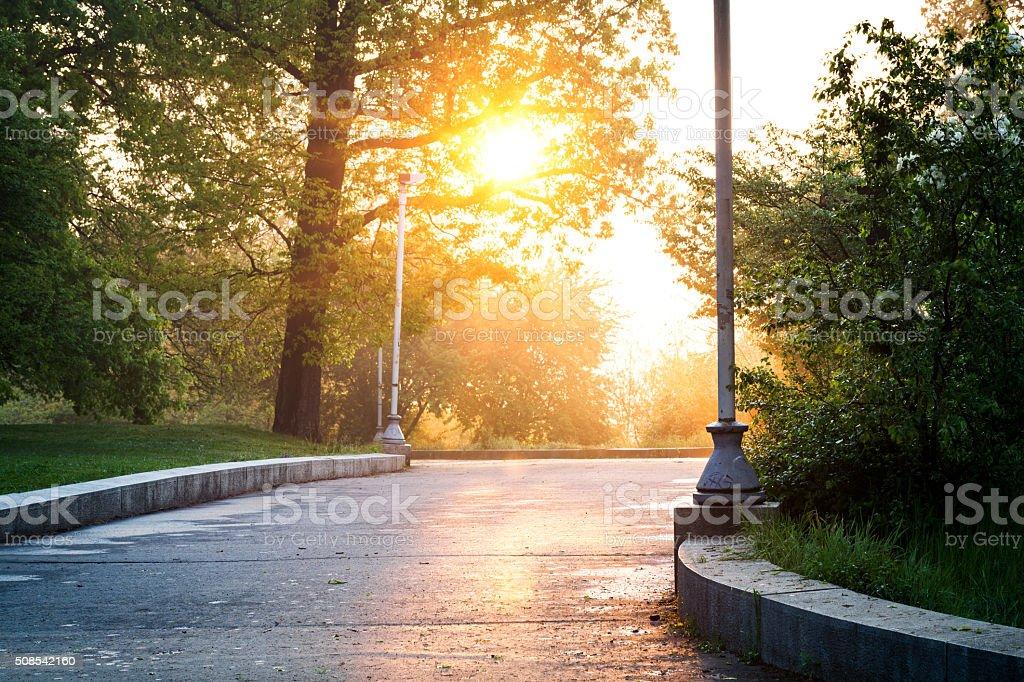 Letna Park In Prague At Sunrise stock photo