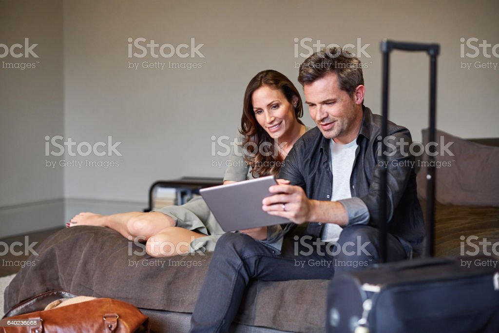 Let's check the online city guide stock photo