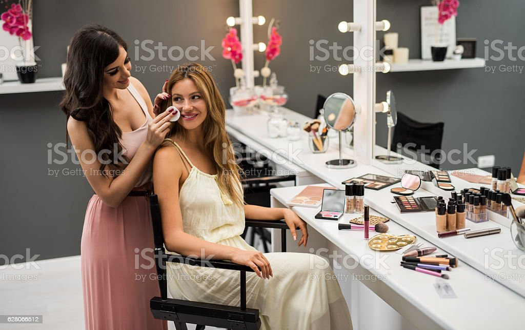 Let's clean the face before applying make-up! stock photo