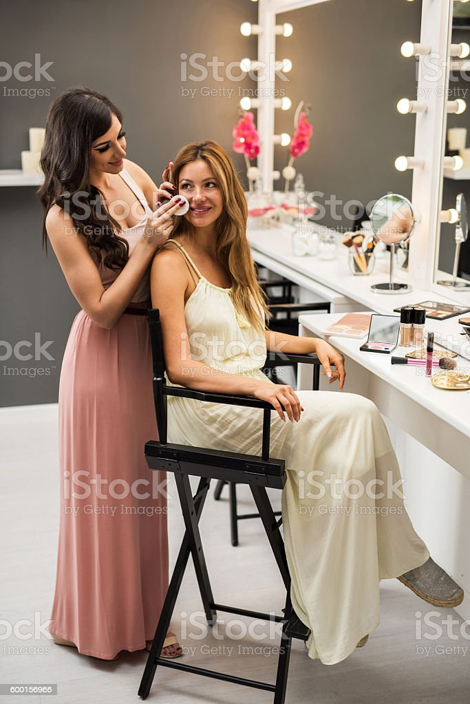 Let's clean the face before make-up! stock photo