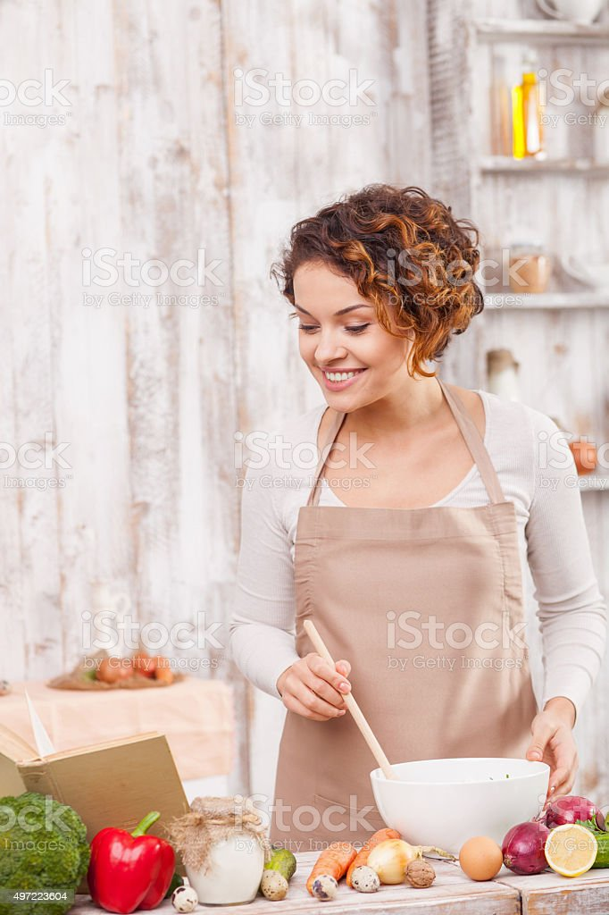 Lets cook something new and tasty stock photo