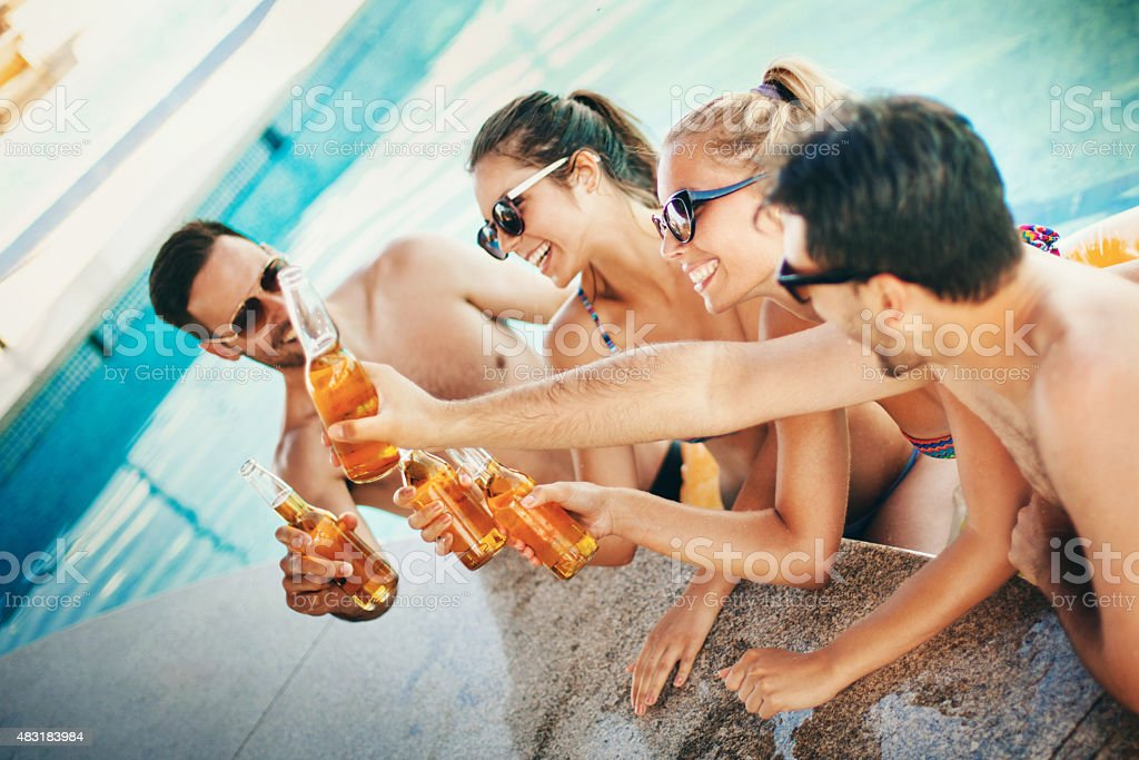 Lets drink and hit the water. stock photo