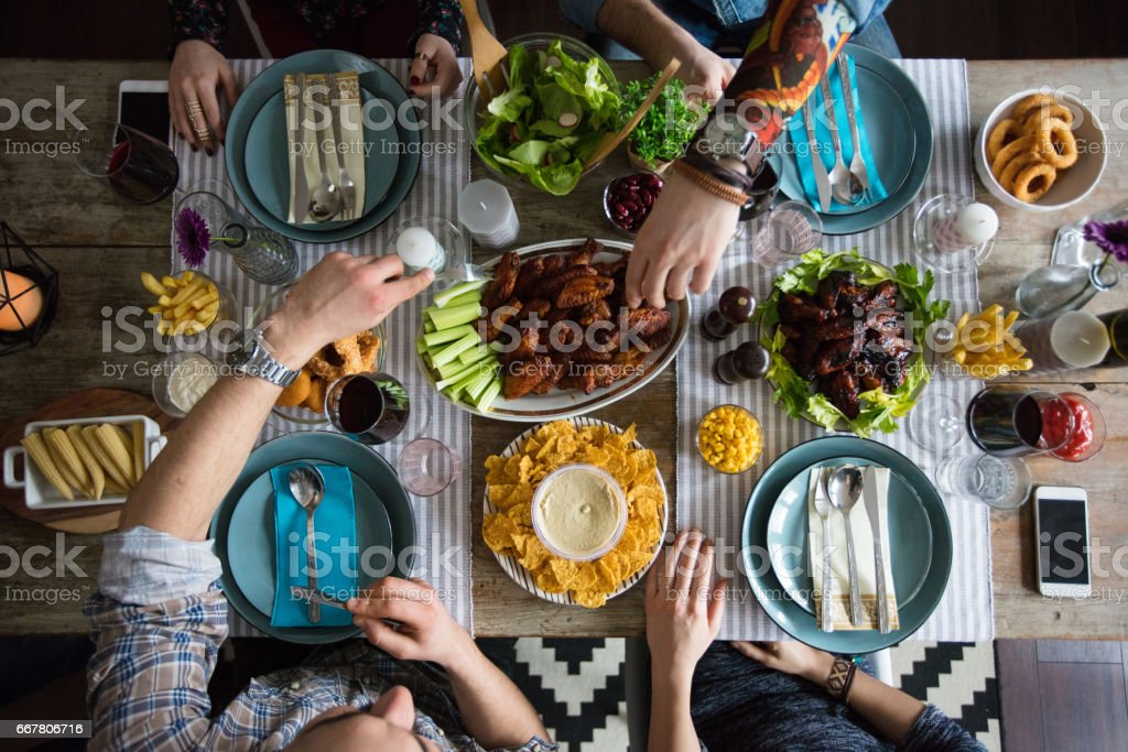 Let's enjoy this delicious dinner stock photo