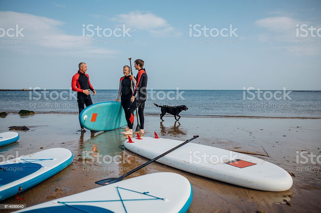 Let's get paddleboarding stock photo