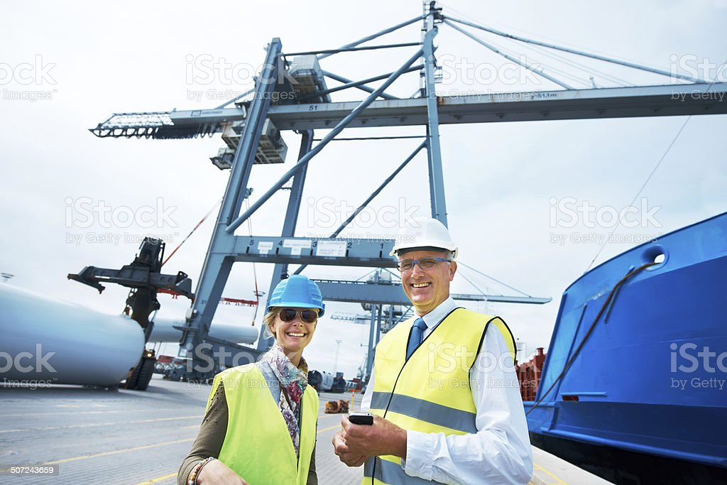 Let's get this cargo out to sea! stock photo