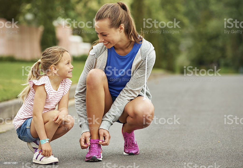 Let's go running mom! stock photo