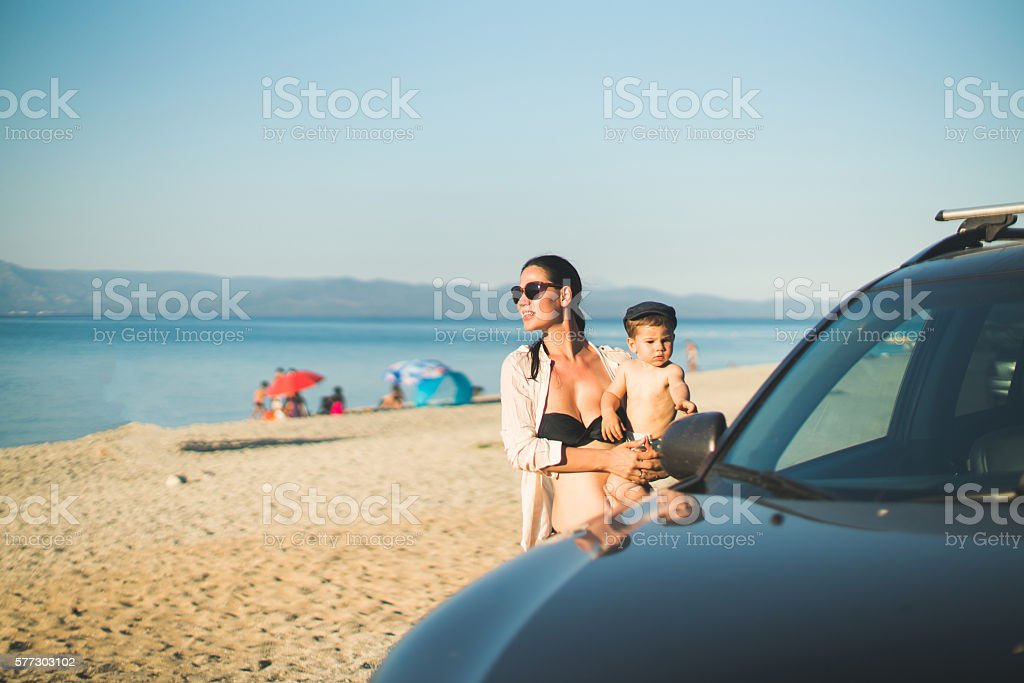 Lets go to walk on the beach stock photo