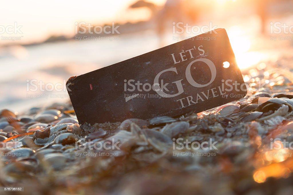 Lets go travel idea, adventure motivation concept, stock photo