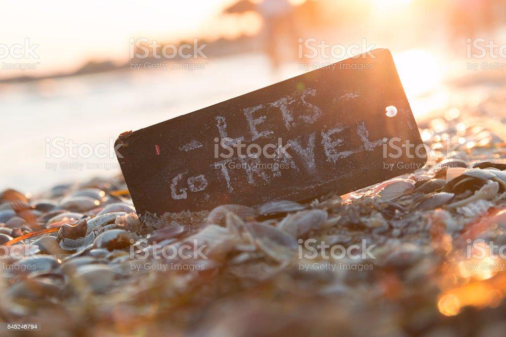 Lets go travel text, adventure motivation concept, stock photo