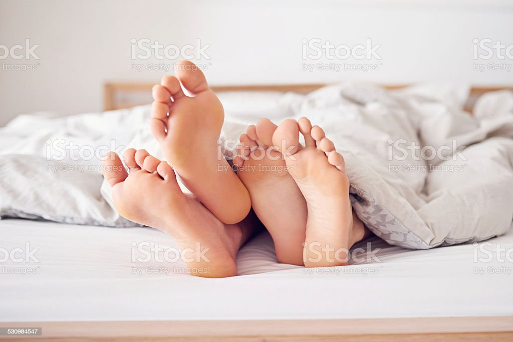 Let's just stay in bed today stock photo