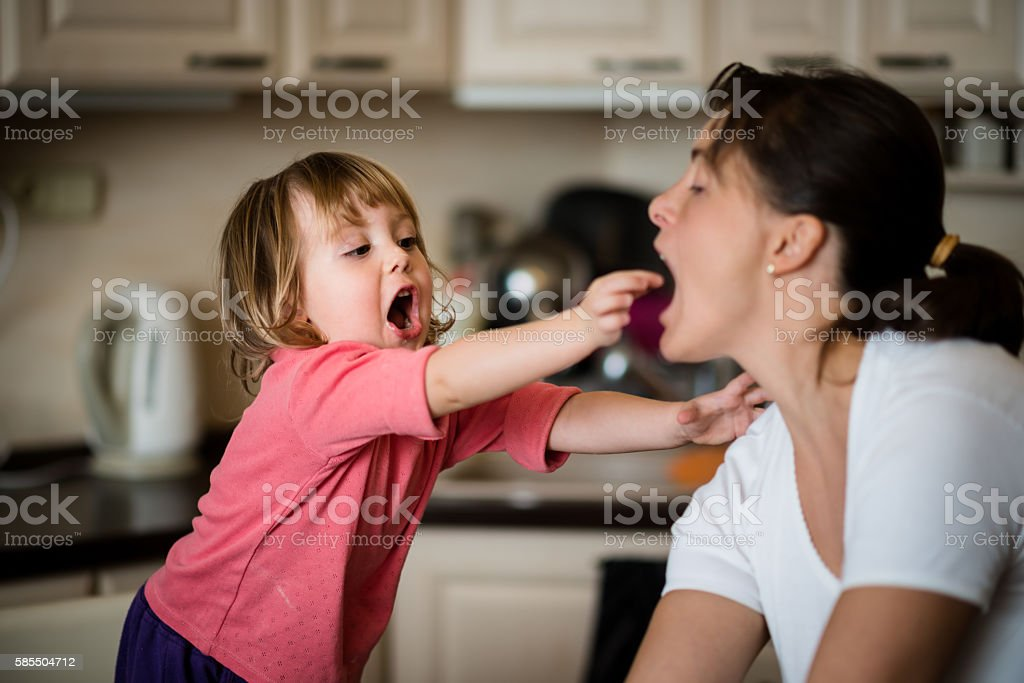 Let's look how it tastes? stock photo