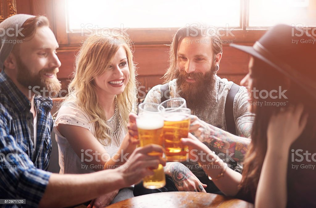 Let's make a cheers for good weekend stock photo