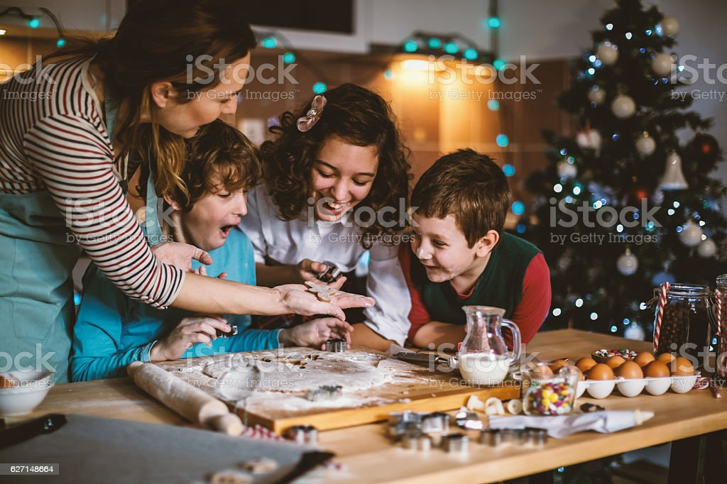 Let's make cookies for Christmas stock photo
