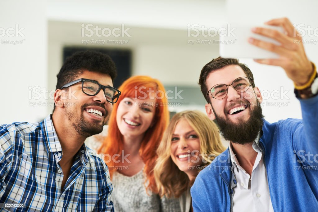 Let's make one seflie. stock photo