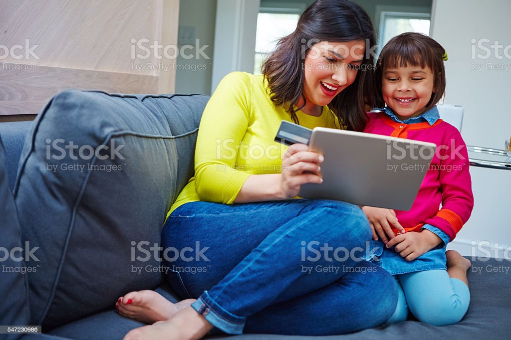 Let's order a birthday gift for dad stock photo