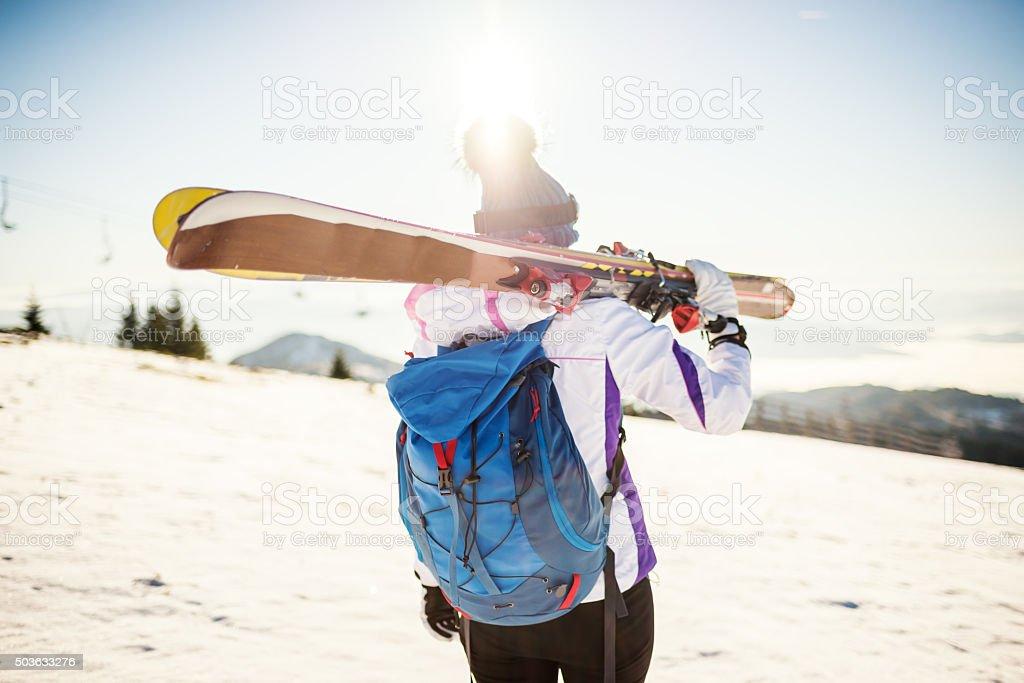 Let's ski stock photo