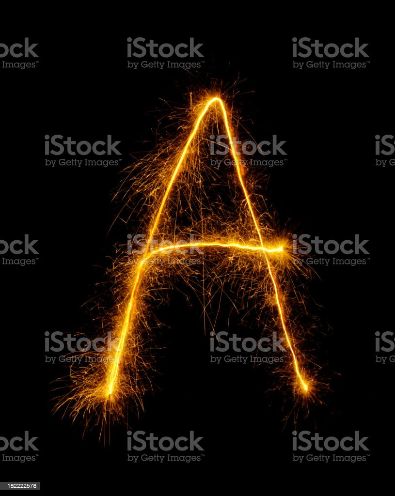 Letter A Drawn in Fireworks stock photo