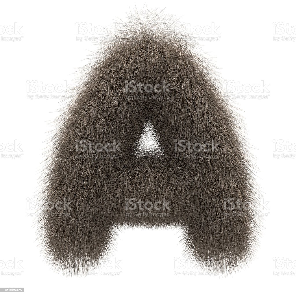 Letter A from fur alphabet stock photo