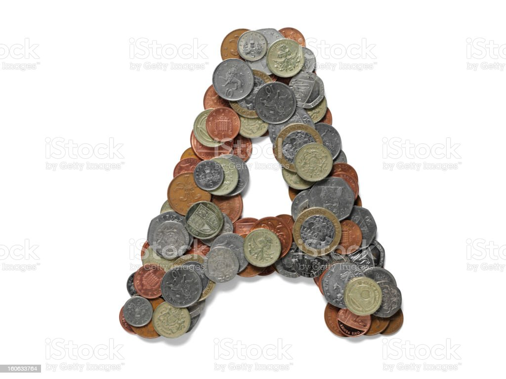 Letter A in British Currency stock photo