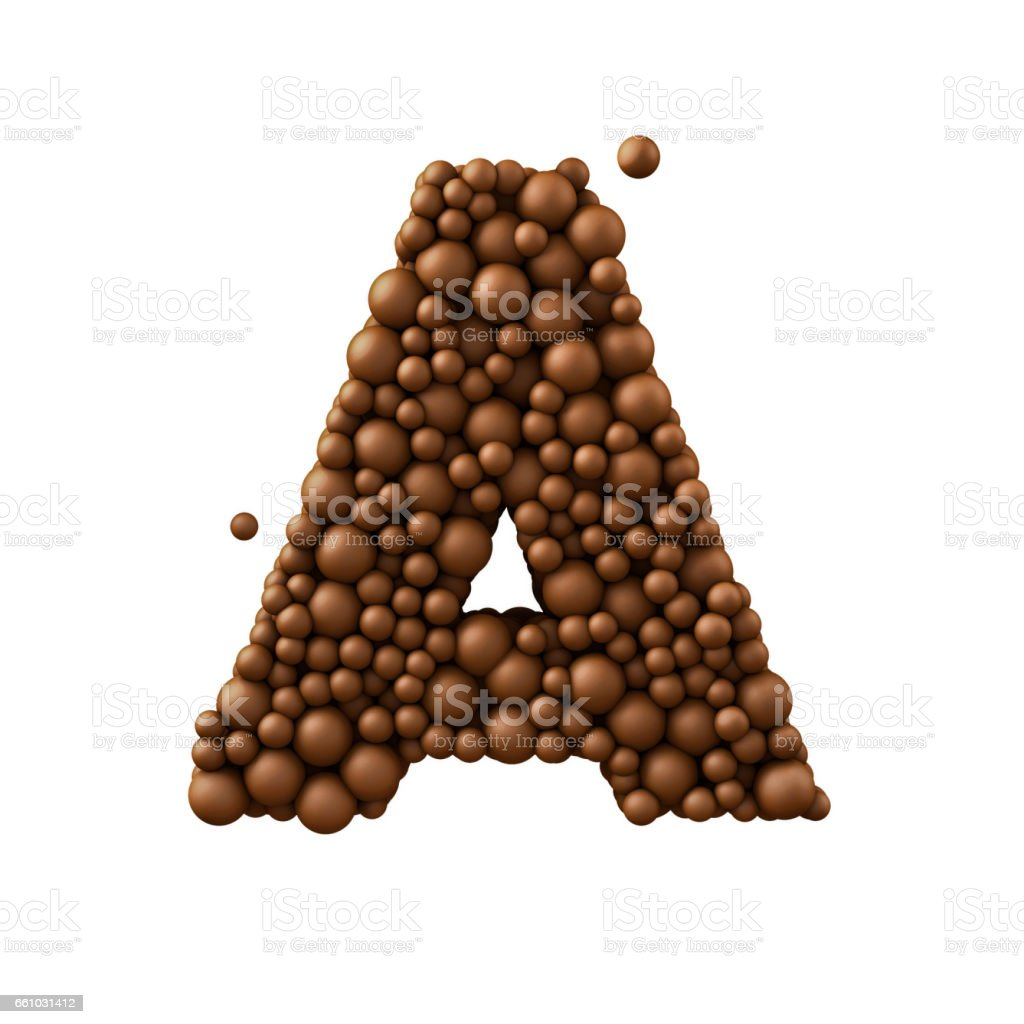 Letter A made of chocolate bubbles, milk chocolate concept, 3d render stock photo