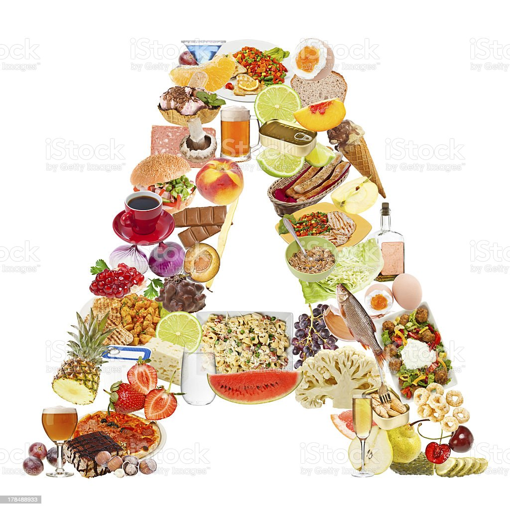Letter A made of food royalty-free stock photo